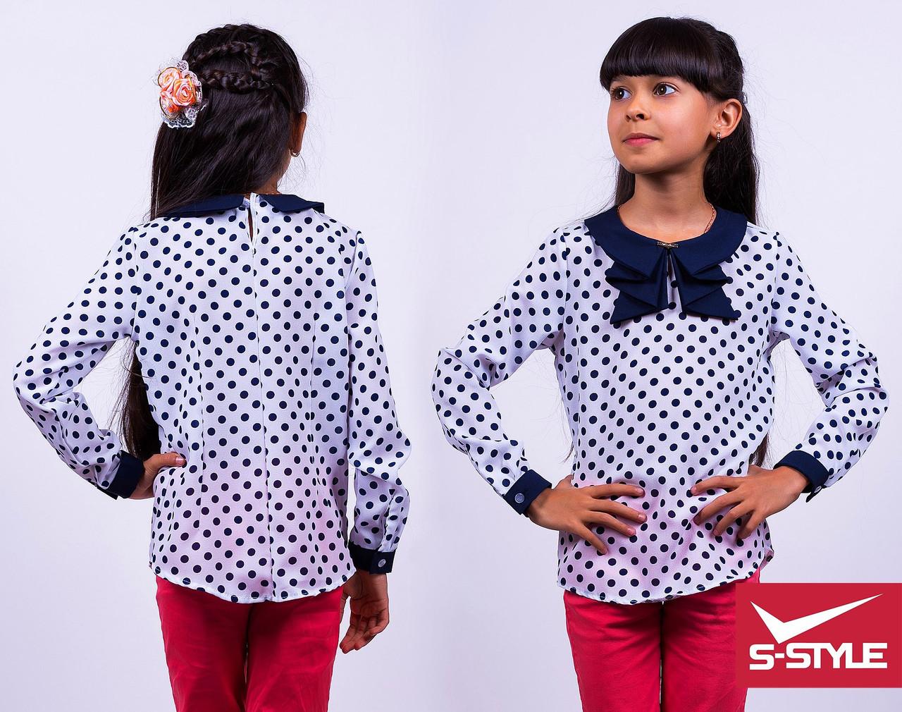 Блузка школьная Жабо креп-шифон Размеры: 30,32,34,36,38,40 Цвет:белая с отделкой в горох