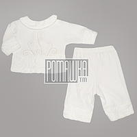 Крестильный костюмчик р. 62 (комплект на крещение) для девочки нарядный ткань ВЕЛЮР 4310 Белый