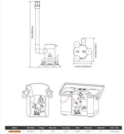 Аэратор вертикальный для внутренней установки Seaflo в лодку, катер, судно, фото 2