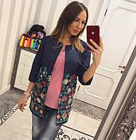 Женский джинсовый пиджак с вышивкой