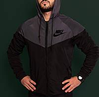 Ветровка мужская повседневная черная непромокаемая легкая все размеры Nike Найк