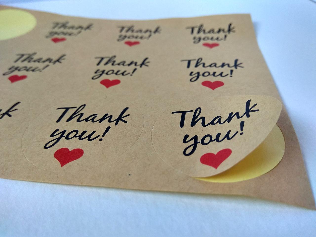 Наклейки Thank you для подарков, хенд-мейд, скрапбукинга (0004)