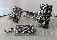 Серебряный комплект украшений - кольцо, серьги и подвеска