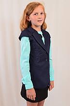 Детская школьная синяя жилетка с воротником на девочку р.116-140