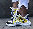 Женские кроссовки Louis Vuitton Archlight White/Yellow (в стиле Луи Витон) белые, фото 5