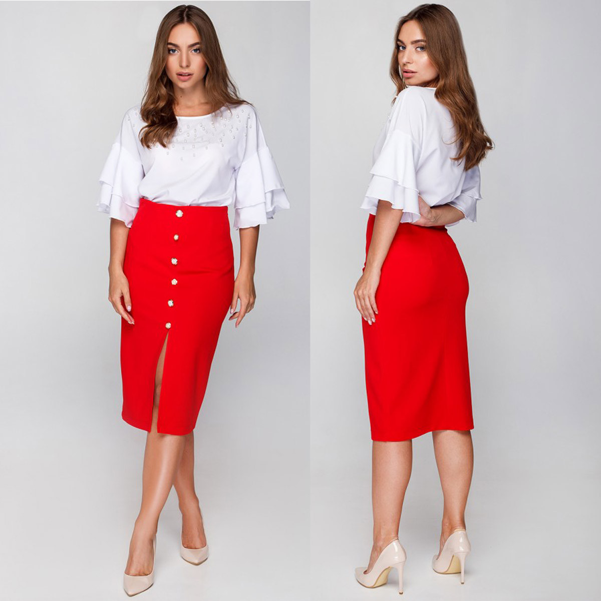 8ca1dd6fc943 Деловая красная юбка карандаш размер M