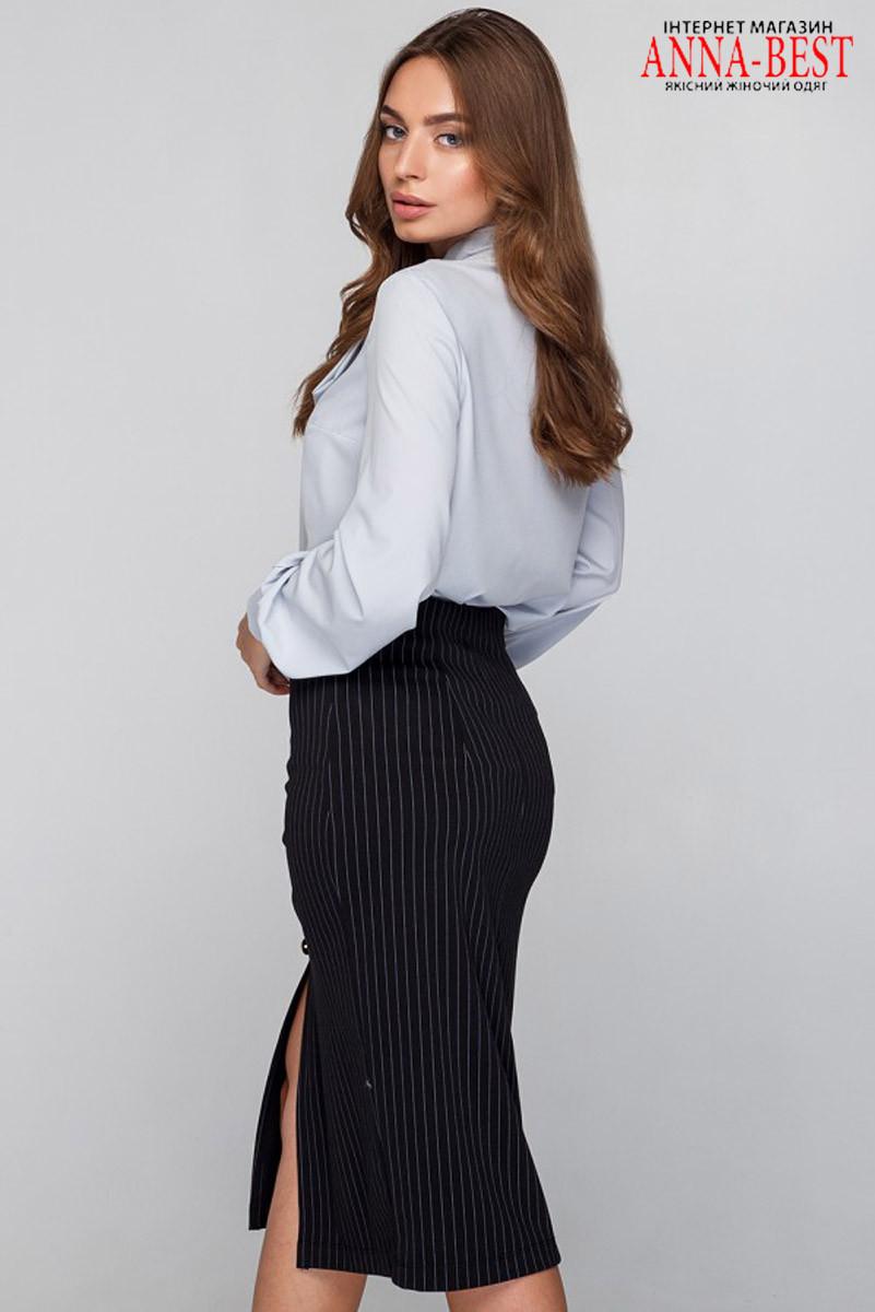 4adaf6cdb9e Черная деловая юбка-карандаш в полоску размер M
