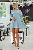 Модное платье мини свободное рукав длинный люрекс на дайвинге голубое, фото 2