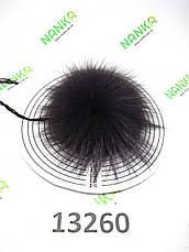 Меховой помпон Чернобурка, Тем. Фиолет, 9 см, 13260, фото 2