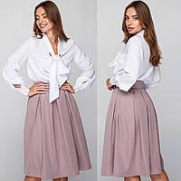"""Бежевая офисная, деловая юбка со складками размер S """"Мемори"""""""