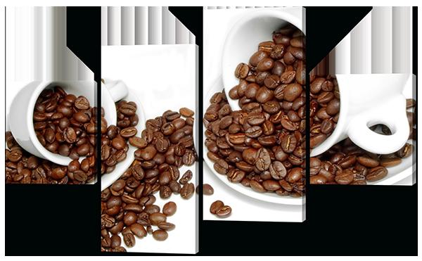 Модульная картина Ароматные зерна кофе в чашках