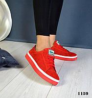 Новинка! Женские стильные кеды натуральный замш красного цвета