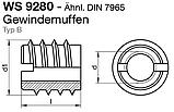 WS 9280 : нержавеющая резьбовая вставка для дерева, фото 3