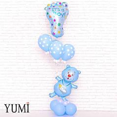 Композиция из воздушных шариков на выписку из роддома для мальчика