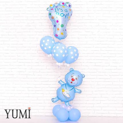 Мишка с соской, Ножка Its a boy и 4 голубых шарика в горох с декором на подставке из 8 шаров, фото 2