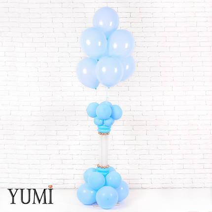 Композиция: 7 голубых шаров на подставке из 16 голубых шаров с декором из ШДМ, фото 2