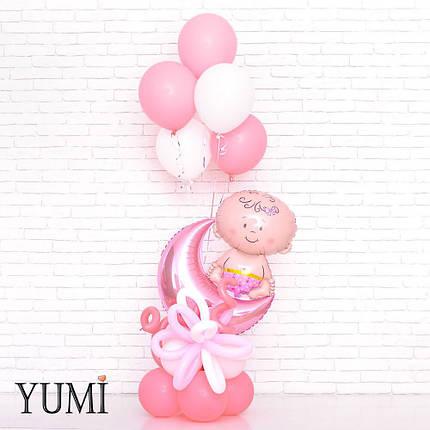 Композиция из воздушных шаров на выписку для девочки, фото 2