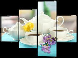 Модульная картина Черный чай и цветы