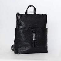 Рюкзак трансформер кожаный модель 05 черный флотар, фото 1