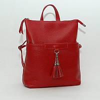 Рюкзак трансформер кожаный модель 05 красный флотар, фото 1