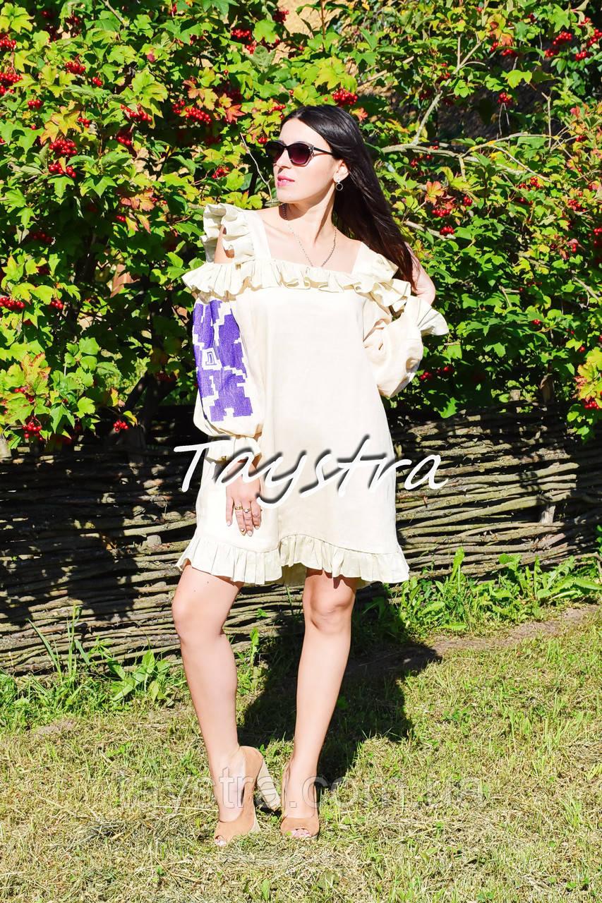 Платье с воланами вышиванка лен бохо шеби шик, вишите плаття вишиванка рюши