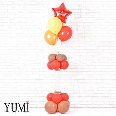 Композиция: Красная звезда С 1 сентября и 4 шарика на подставке из 8 красных и 8 кофейных шаров