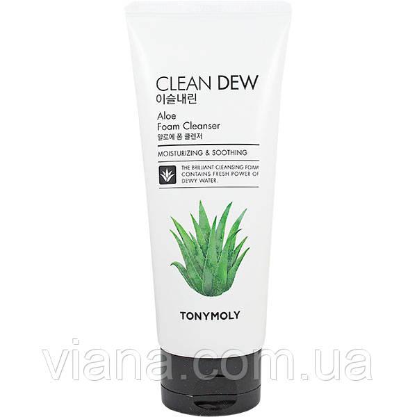 Пенка увлажняющая для лица с экстрактом алоэ вера TONY MOLY Clean Dew Aloe Foam Cleanser 180 мл