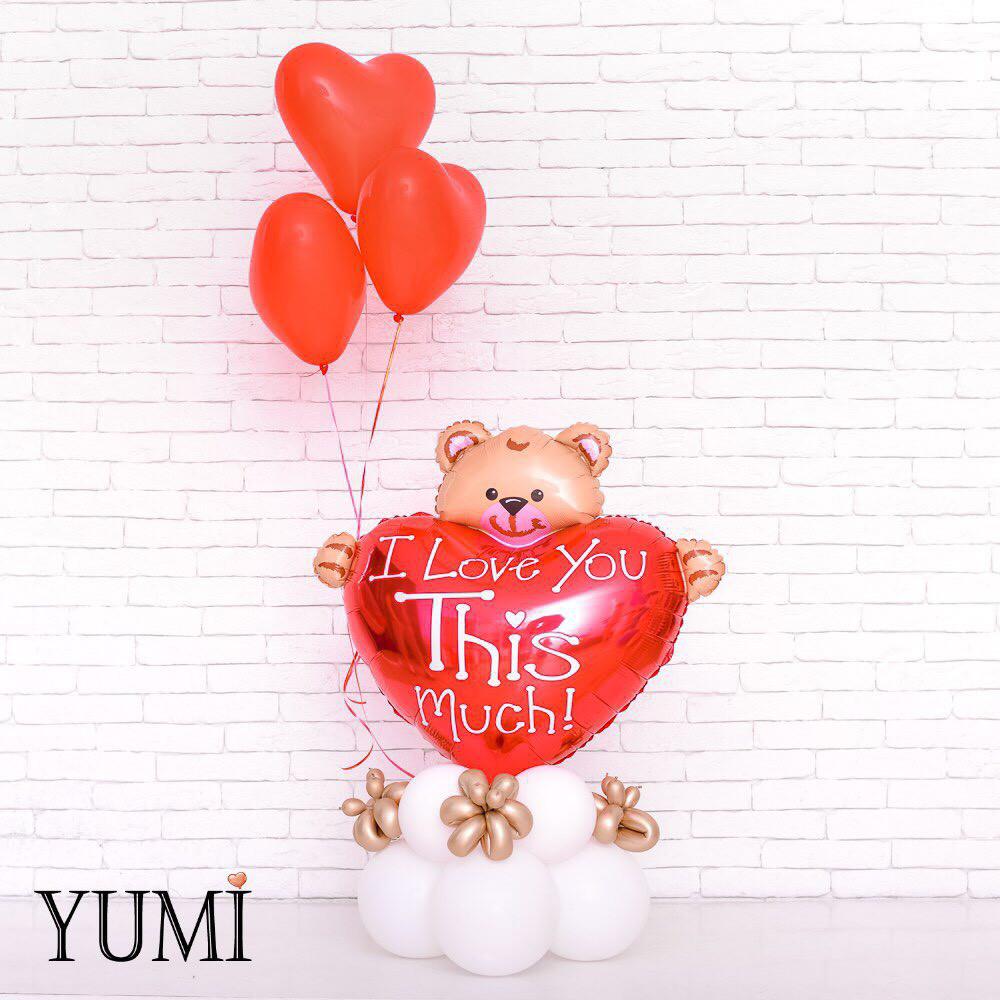 Композиция из воздушных шариков с гелием для любимого человека
