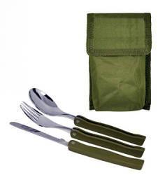 Столовый набор нож вилка ложка цвет армейский зеленый