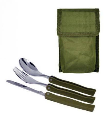 Столовый набор нож вилка ложка цвет армейский зеленый, фото 2