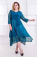 Красивое   платье большого размера Джульетта морская волна (58-68), фото 1