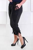 Модные бриджи женские большого размера Каприз - софт черный (52-66), фото 1