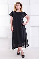 Нарядное платье двойка большого размера Амбер черное  (60-70)