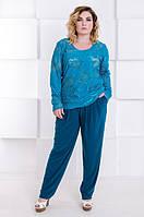 Стильные брюки женские большой размер Трейси малахит (60-70)