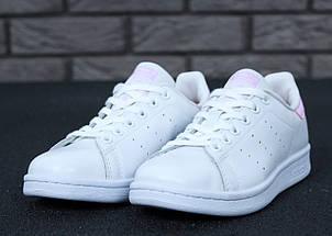 Женские кроссовки в стиле Adidas Stan Smith White Pink, фото 3