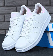 Женские кроссовки в стиле Adidas Stan Smith White Pink