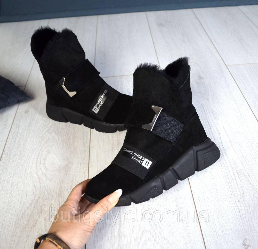 Зимние женские черные ботинки натур замш