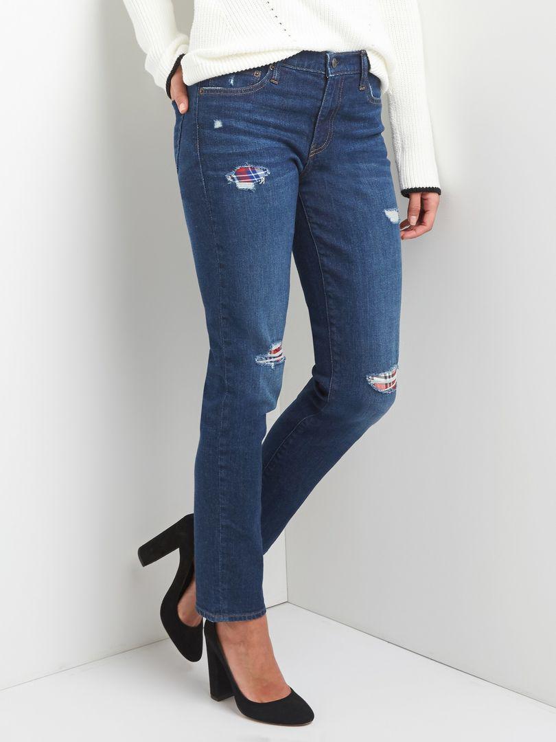 GAP женские джинсы прямые синие со вставками оригинал