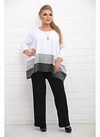Женская туника Арабика белая без украшения / размер 48-72 / большие размеры