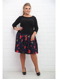 Женская юбка больших размеров Шампань розочки / размер 48-72