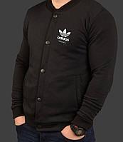 Бомбер мужской черный трикотажный S M L XL Adidas Адидас