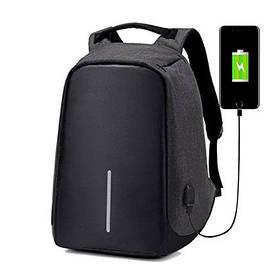 """Рюкзак Bobby антивор, школьный ранец с USB-выходом реплика 15,6"""" 2 цвета Черный"""