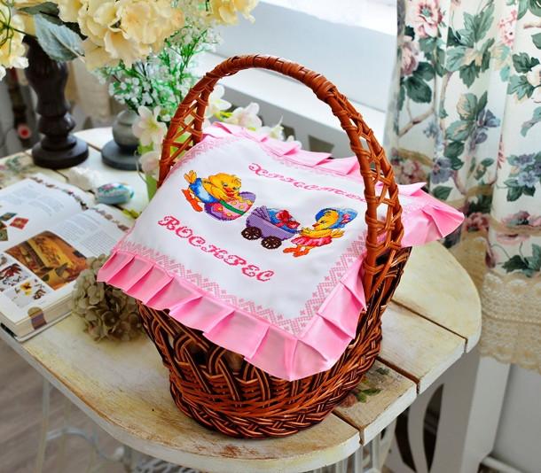 Серветка вишита Великодні курчатка, фото 1