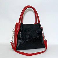 Кожаная сумка модель 33 красный флотар с кайманом, фото 1