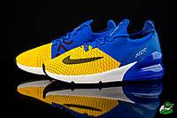 Спортивные кроссовки для бега мужские сетка желто-синие Nike Air Max 270 (найк аир макс)  (реплика), фото 1