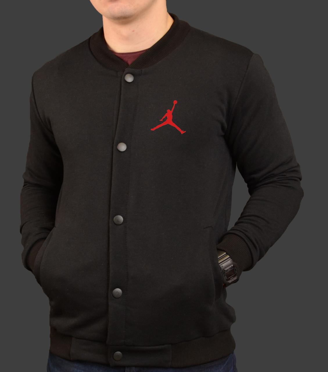 Бомбер мужской черный трикотажный кофта спортивная S M L XL Jordan ... 7f081409259