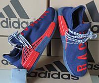 Мужские кроссовки Adidas NMD Human Race. Аутентичная копия. Сине-красные