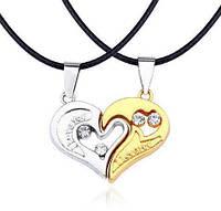 Парные кулоны две половинки сердца для влюбленных. Серебро + золото в подарочном футляре