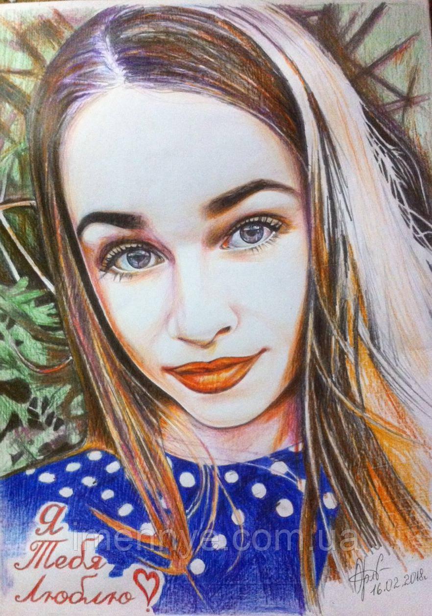 Цветной портрет карандашами на подарок