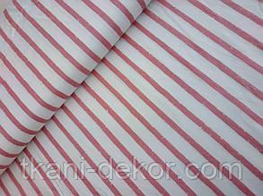 Сатин (хлопковая ткань)  крупная терракотовая размытая полоска (25*160)